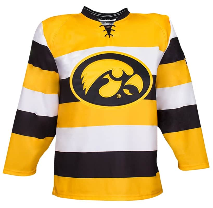Iowa custom hockey jersey for the men's ice hockey and women's ice hockey teams. NHL jersey quality ice hockey jersey.