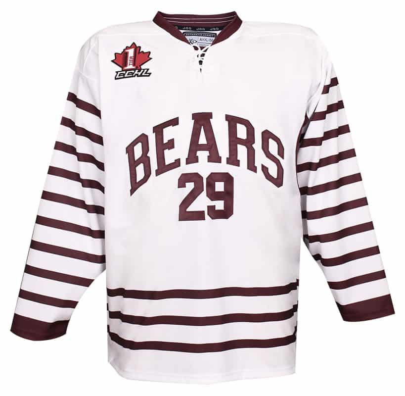 Smiths Falls Bears custom hockey jersey for the men's ice hockey team. NHL jersey quality ice hockey jersey for junior hockey in the CCHL.