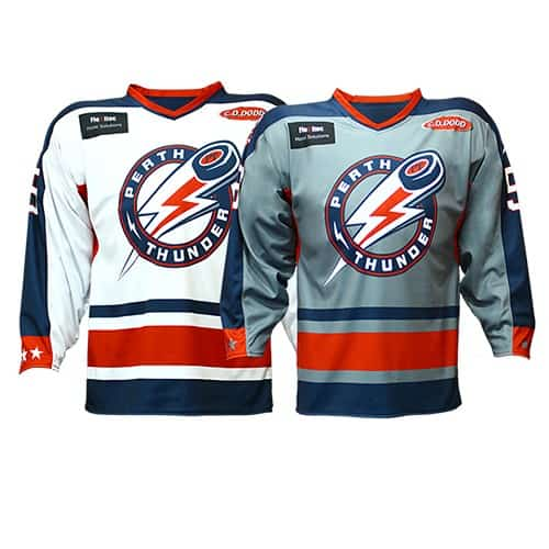 Custom sublimation reversible hockey jersey for the Perth Thunder.