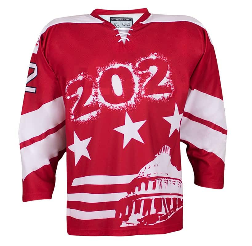 Custom hockey jersey for the men's ice hockey and women's ice hockey teams. NHL jersey quality ice hockey jersey.