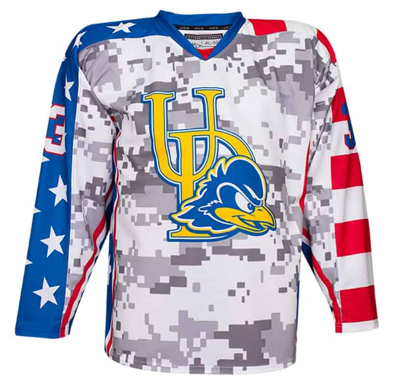 University of Delaware custom hockey jersey for the men's ice hockey and women's ice hockey teams. NHL jersey quality ice hockey jersey.