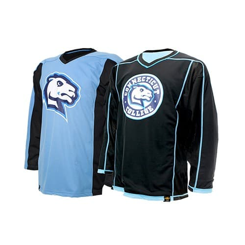 Custom reversible hockey jersey for Connecticut College men's and women's hockey.