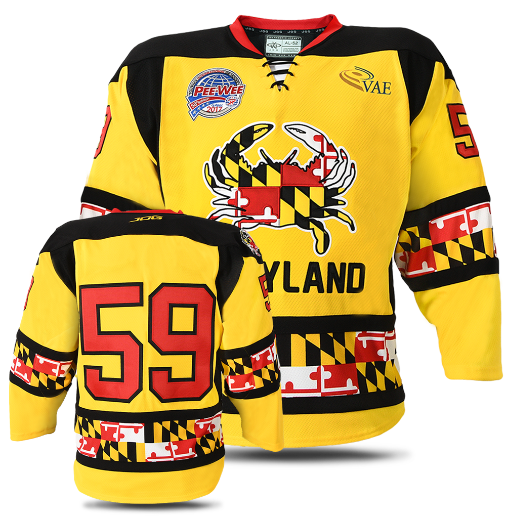 Team Maryland custom hockey jersey for the men's ice hockey and women's ice hockey teams. NHL jersey quality ice hockey jersey.