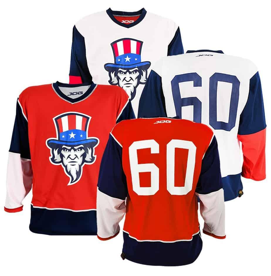 Custom reversible hockey jersey.