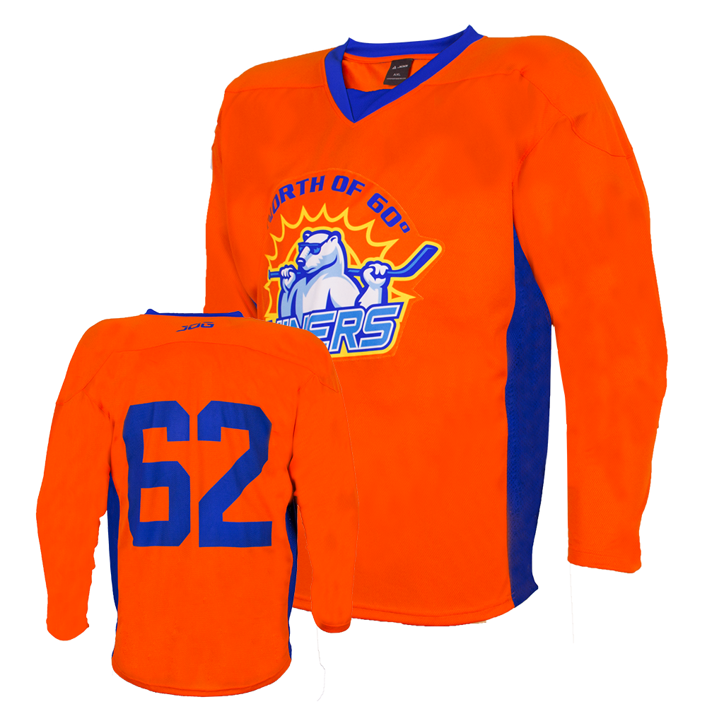 Custom hockey practice jersey for the North of Sixty Niners team.
