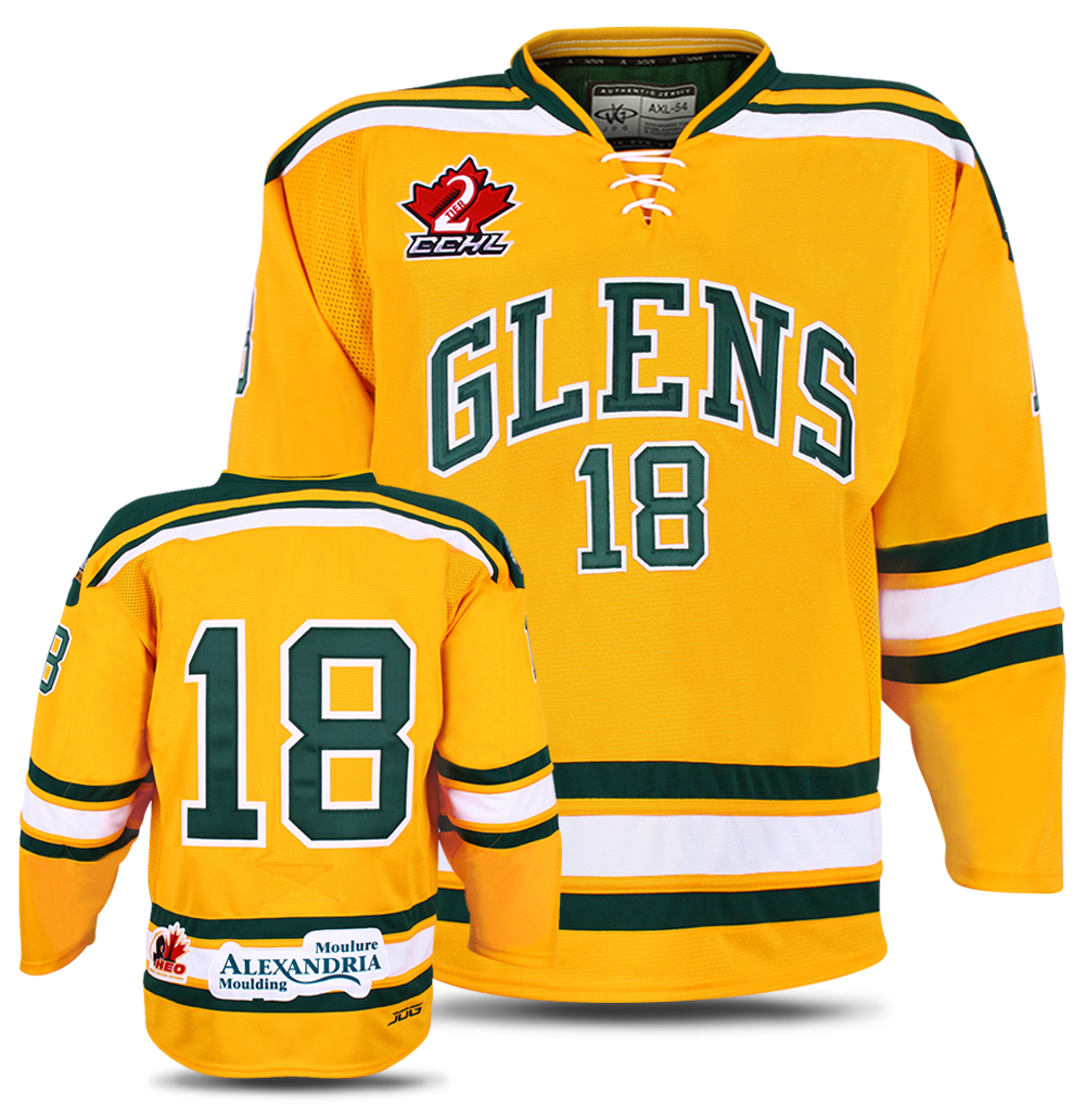 Alexandria Glens custom hockey jersey for the men's ice hockey team. NHL jersey quality ice hockey jersey in the CCHL2.
