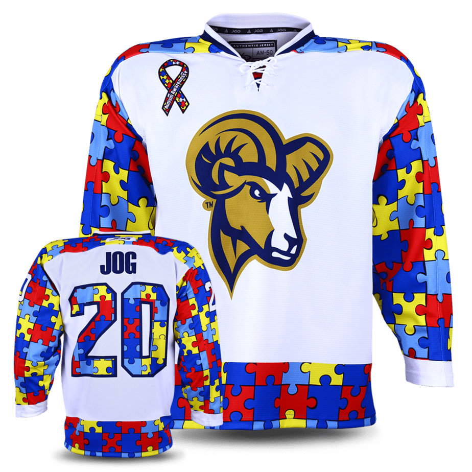 Suffolk University custom hockey jersey for the men's ice hockey and women's ice hockey teams. NHL jersey quality ice hockey jersey. Autism awareness charity game.