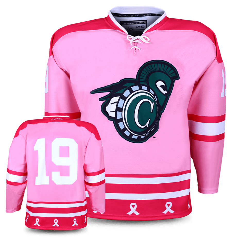 Castleton University Spartans custom hockey jersey for the men's ice hockey and women's ice hockey teams. NHL jersey quality ice hockey jersey. Cancer awareness charity game jersey.