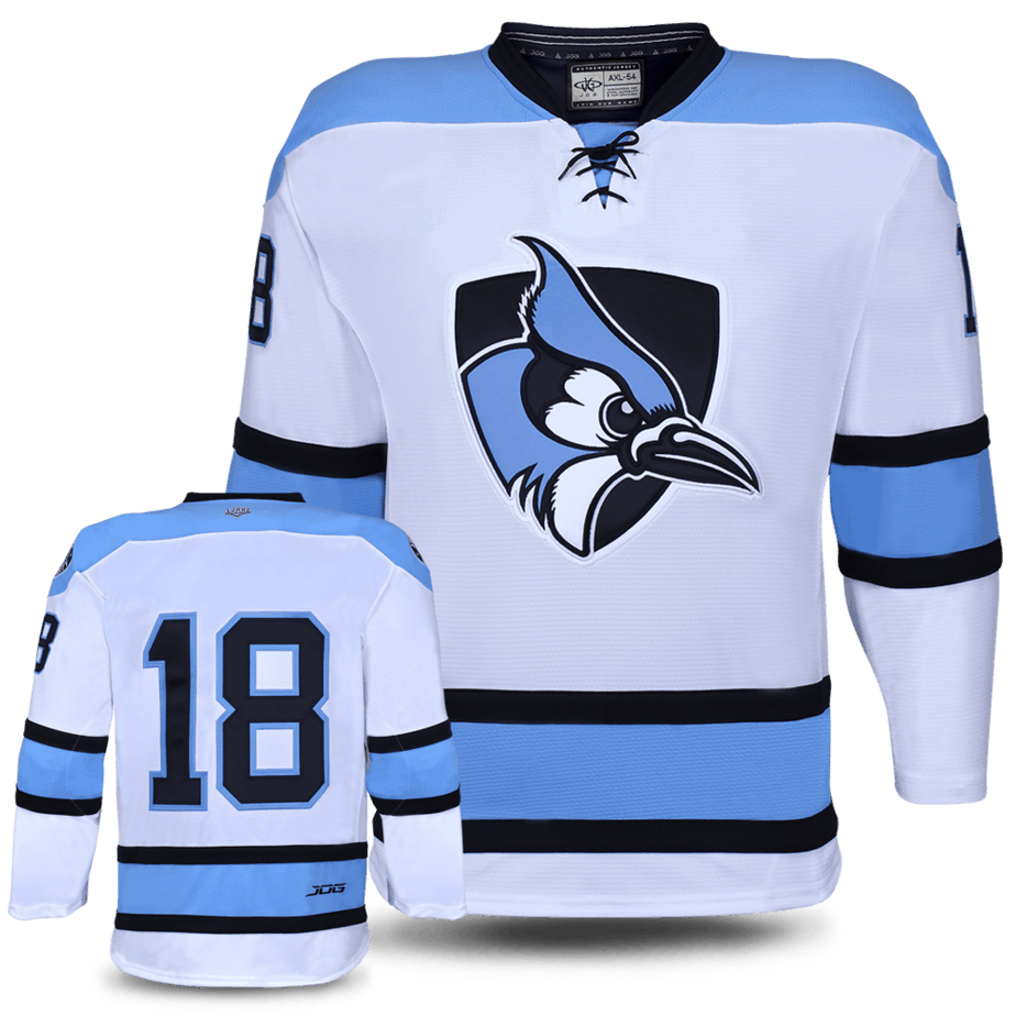 Johns Hopkins custom hockey jersey for the men's ice hockey and women's ice hockey teams. NHL jersey quality ice hockey jersey.