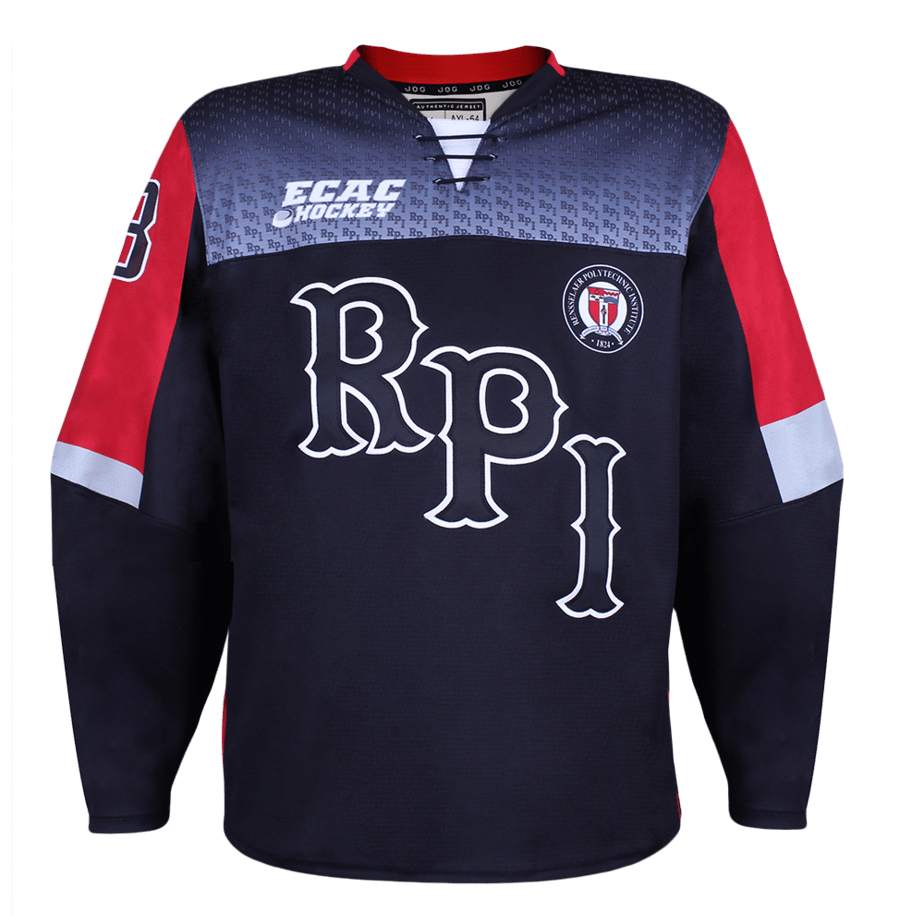 Rensselaer Polytechnic Institute (RPI) custom hockey jersey for the men's ice hockey and women's ice hockey teams. ECAC NHL jersey quality