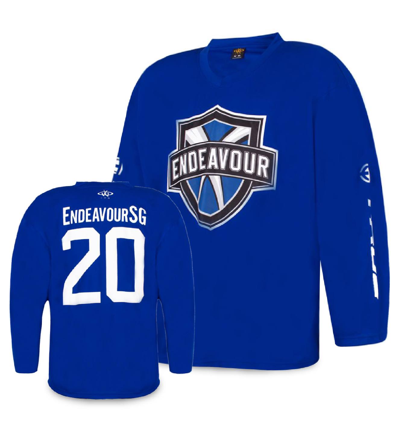 Endeavour Sports Group and True Hockey custom practice jersey with screen printed front logo.