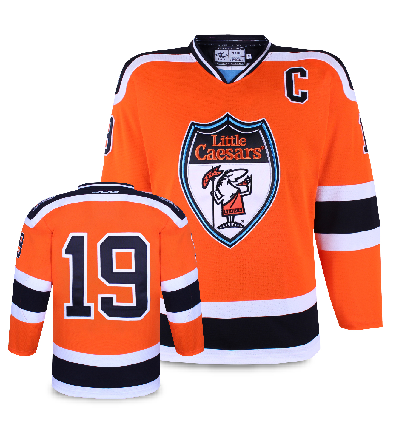 Little Caesars custom hockey jersey for the men's ice hockey team. NHL jersey quality ice hockey jersey in the CCHL2.