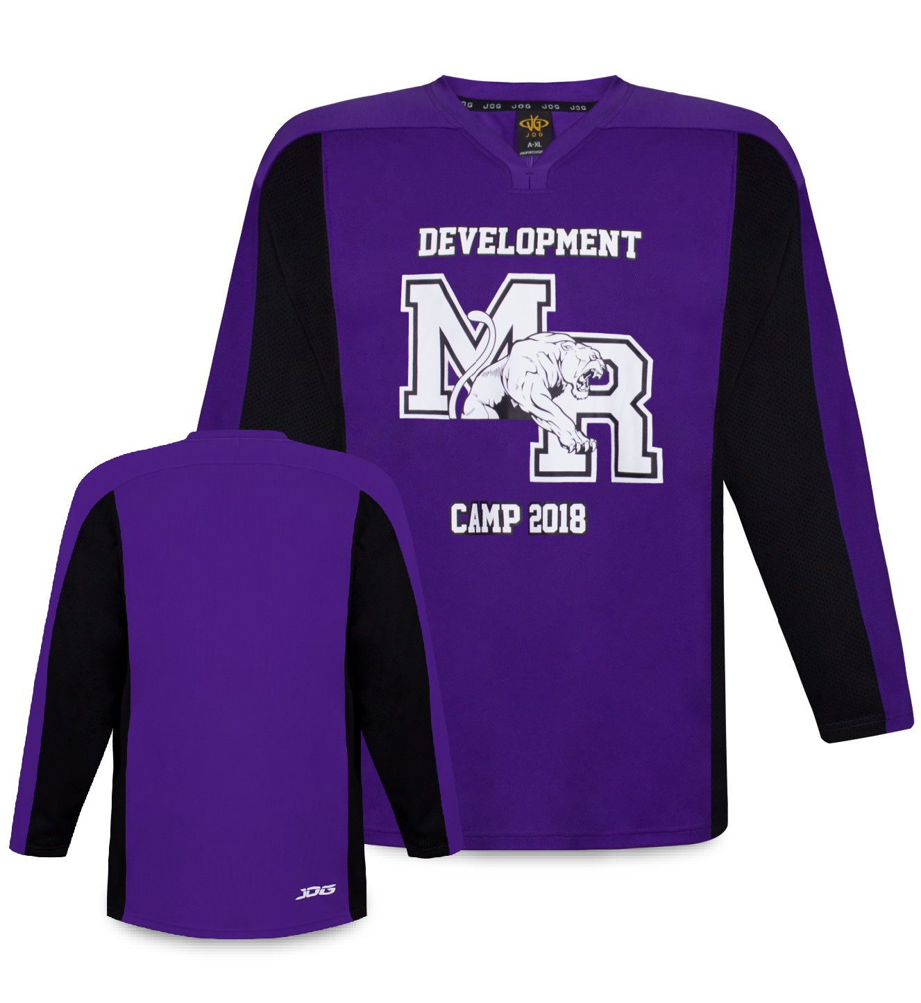 Custom two-color hockey practice jersey.