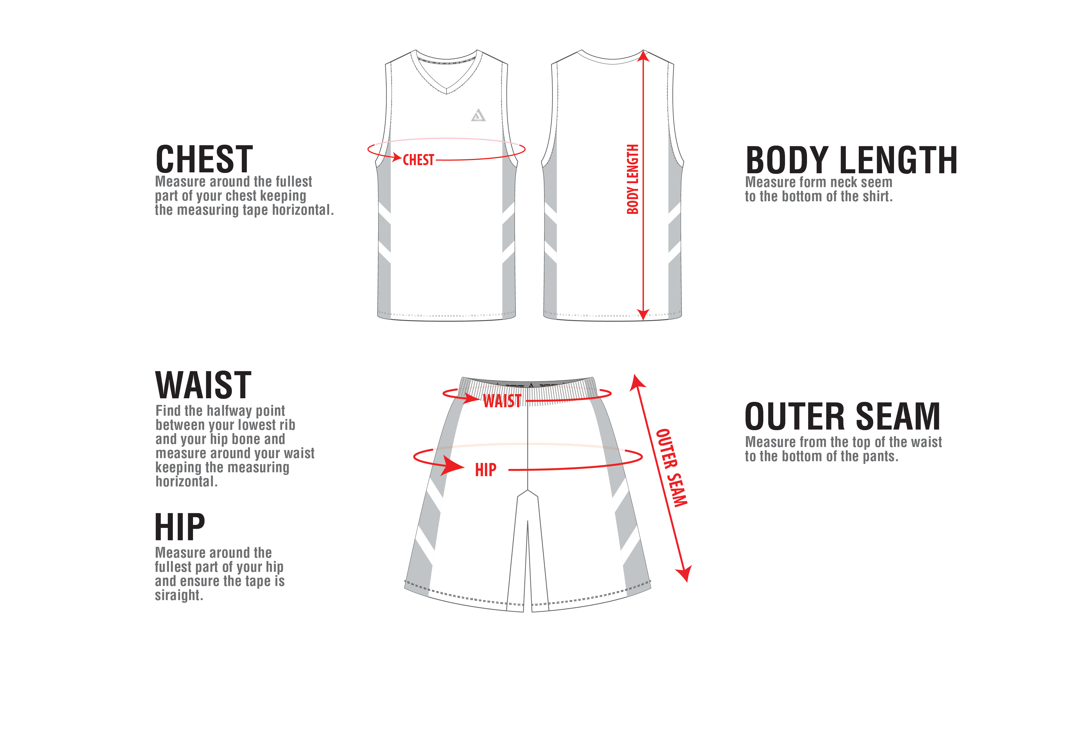 Image result for how to measure basketball jersey